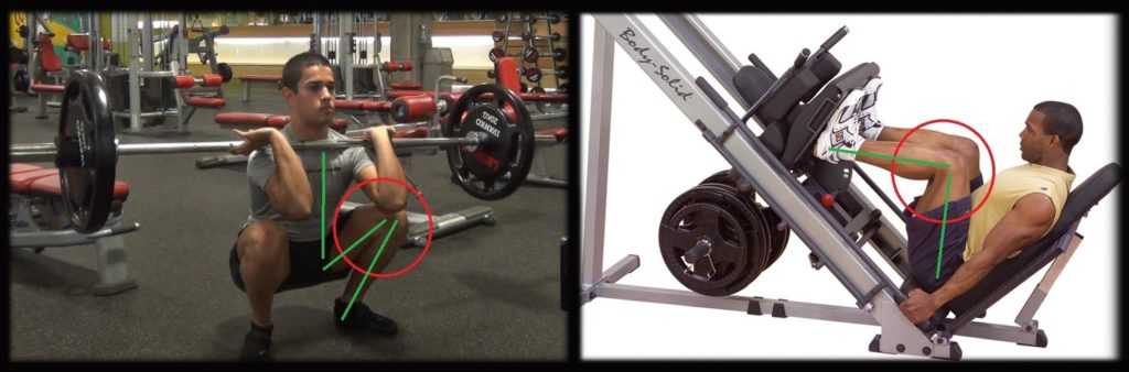 front squat range of motion versus leg press